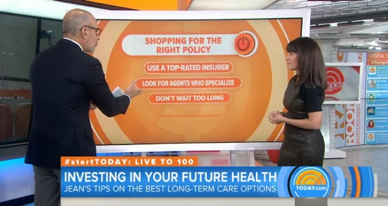 Today Show host Matt Lauer discussed the need for LTC Planning with NBC's Jean Chatzky. She explained the types of LTC plans and the need to start at age 50.