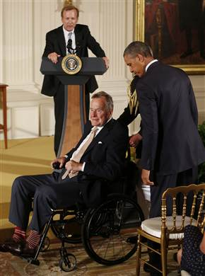 Former President George HW Bush 91 Doing Better After Fall  sc 1 st  LTC News : president in wheel chair - Cheerinfomania.Com