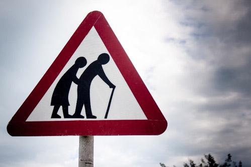 Elderly crossing sign.