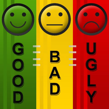 Good, bad, and ugly smiley faces.